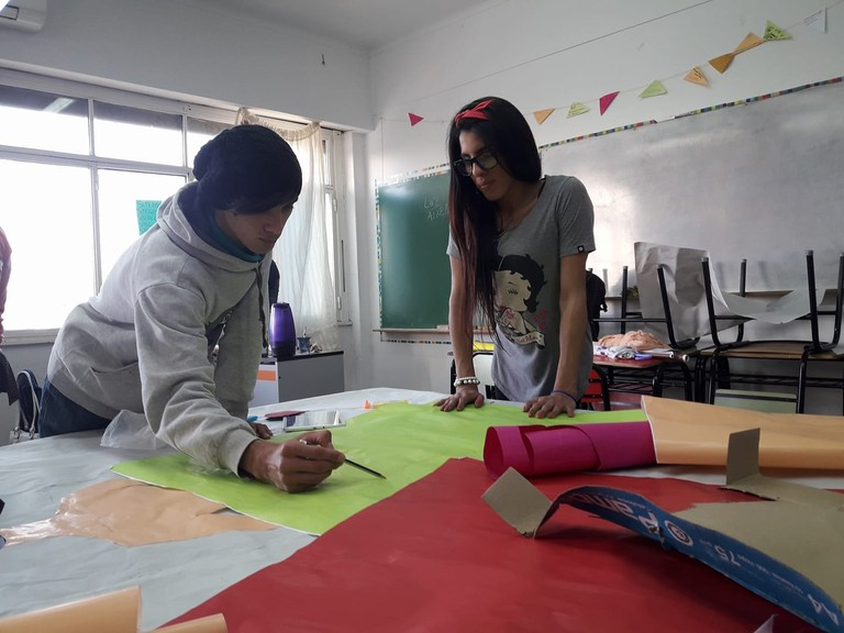 Two students working on a project.