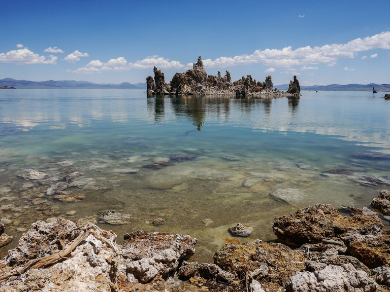 Mono Lake is known for its tufa towers, unique geological formations that poke out of the lake