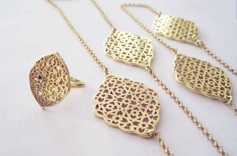 Gold-plated Arabesque jewelry from Nadia Dajani