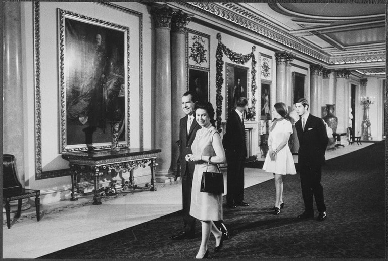 President Nixon visiting Buckingham Palace with Britain's royal family