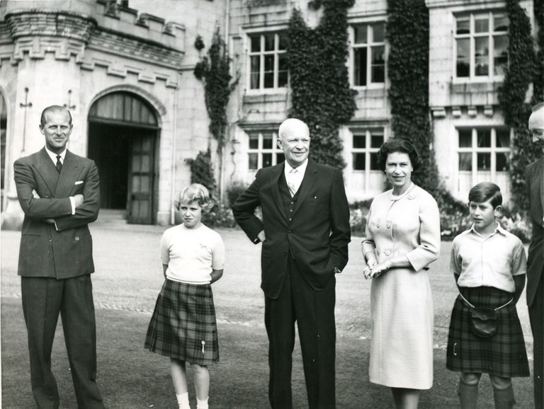 President Of The United States, Dwight D. Eisenhower Stands Outside Balmoral Castle With Members Of The British Royal Family