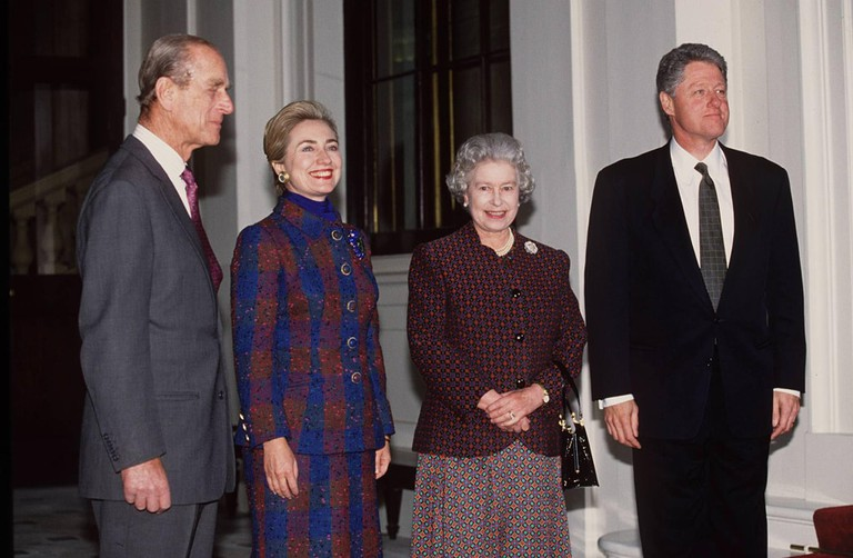 Prince Philip, Hillary Clinton, Queen Elizabeth II and Bill Clinton