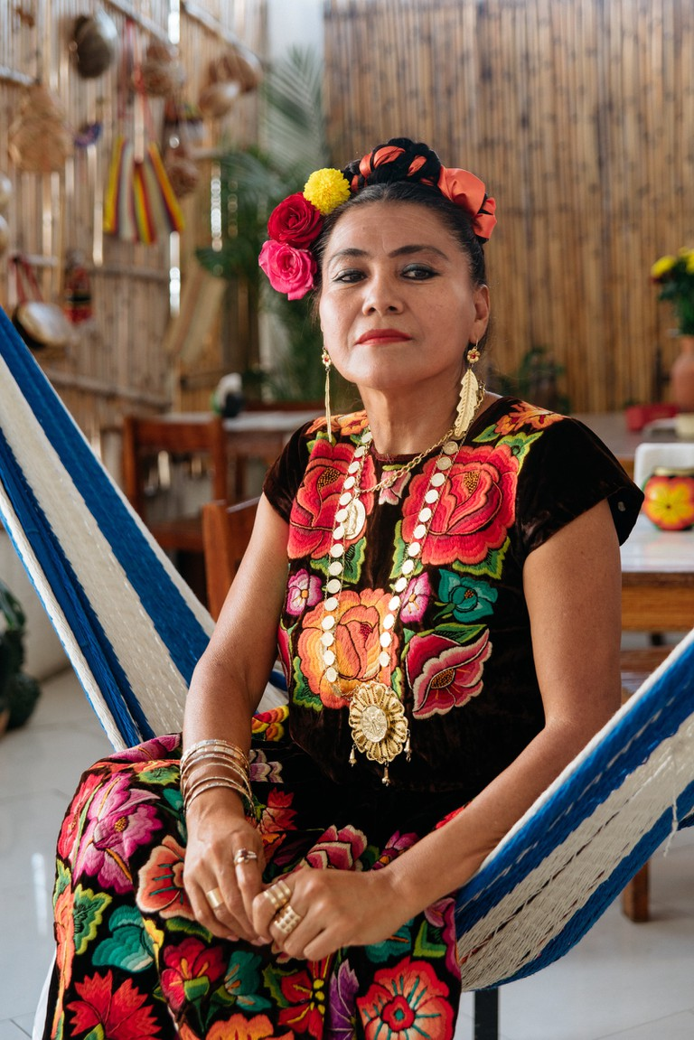 Traditional Tehuana dress designer-Mexico-Bruce