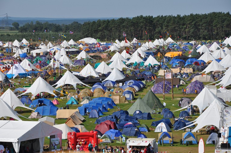 Sea of festival tents