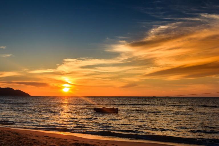 Sunset beach in Penang, Malaysia