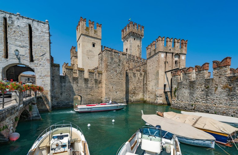 The magical Rocca Scagliera castle in the town of Sirmione on Lake Garda