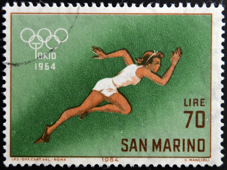 A stamp printed in San Marino on the occasion of the 18th Olympic Games held in Tokyo, circa 1964 | © neftali/Shutterstock