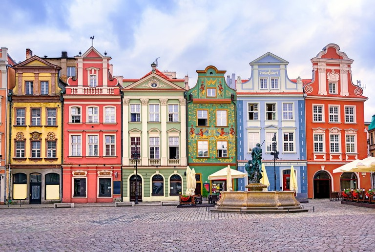 Renaissance facades on the central market square in Poznan, Poland.