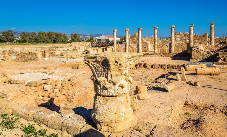 Roman columns in Paphos Archaeological Park, Cyprus
