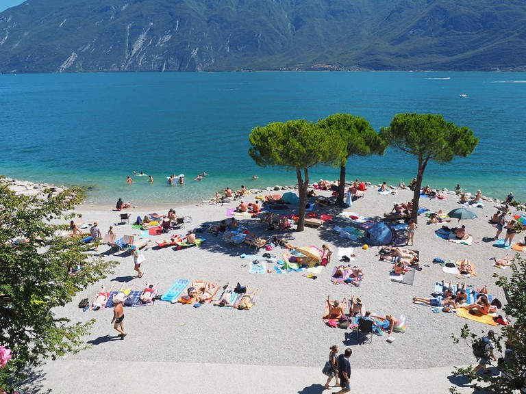 One of Lake Garda's picturesque beaches, this one in the small town of Limone sul Garda