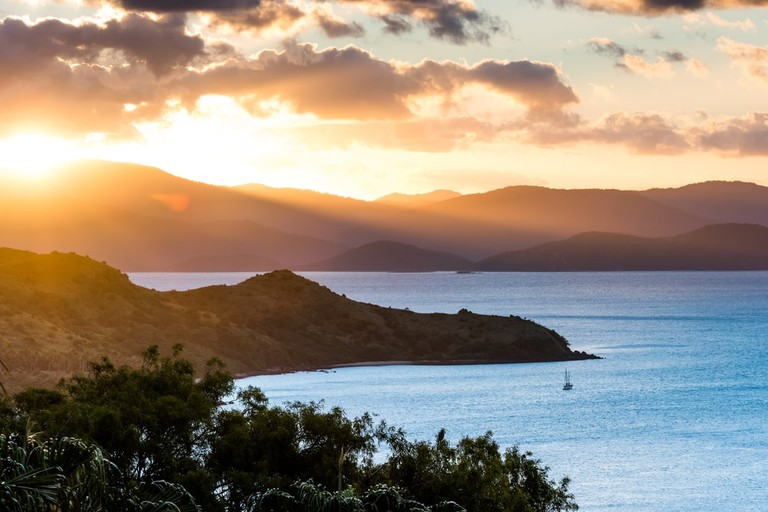 Sunset view from One Tree Hill on Hamilton Island, Australia