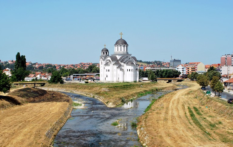 Church and Valjevo city in Serbia