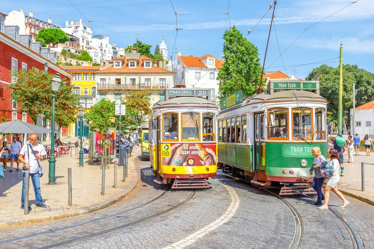 Trams in Lisbon, Portugal.