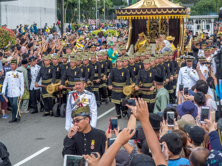 Brunei's Sultan marked 50 years on the throne with a procession