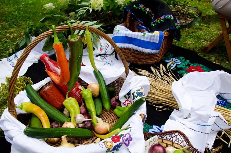 Vegetables in wooden basket for food festival in Ribarska Banja, Serbia