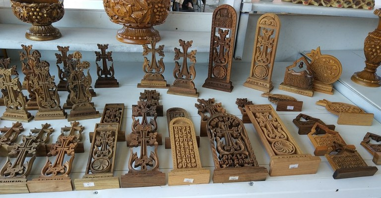 Souvenir shop of Armenian crosses made of wood