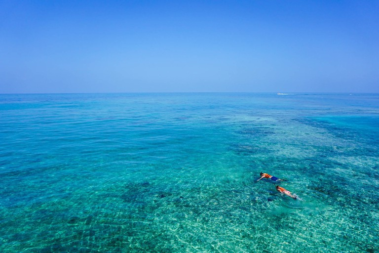 Snorkelling in the Caribbean sea
