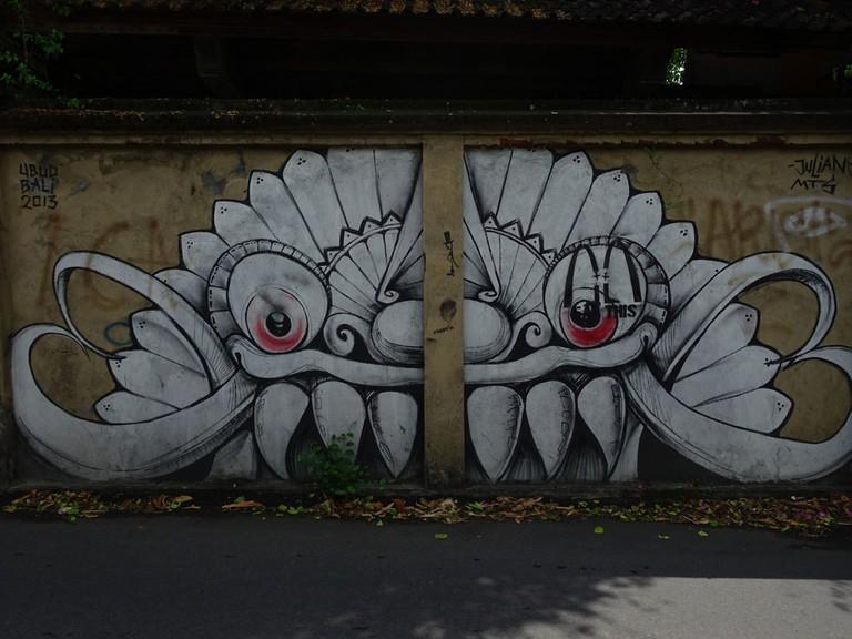 Street art in Penestanan village in Ubud