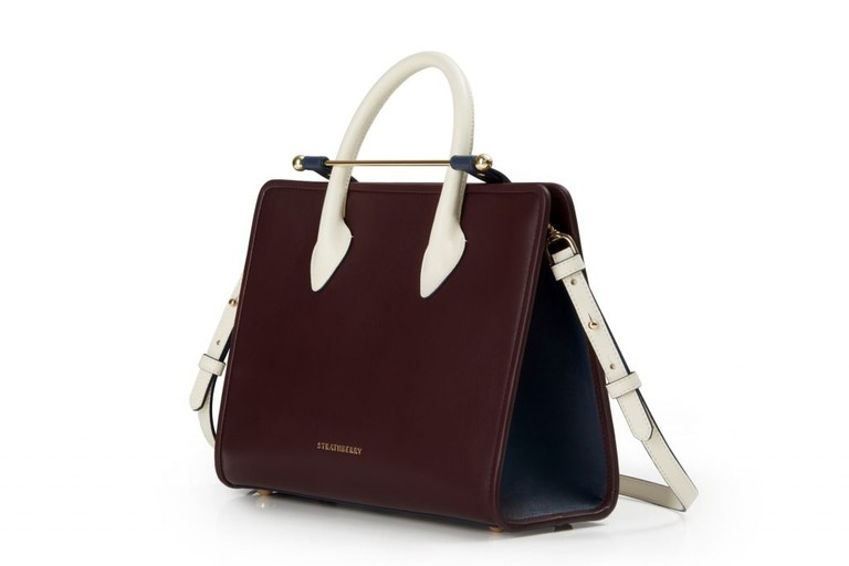 The Strathberry Midi Tote In Tri-Colour Burgundy/Navy/Vanilla