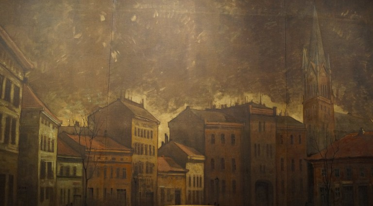 This painting shows the original building