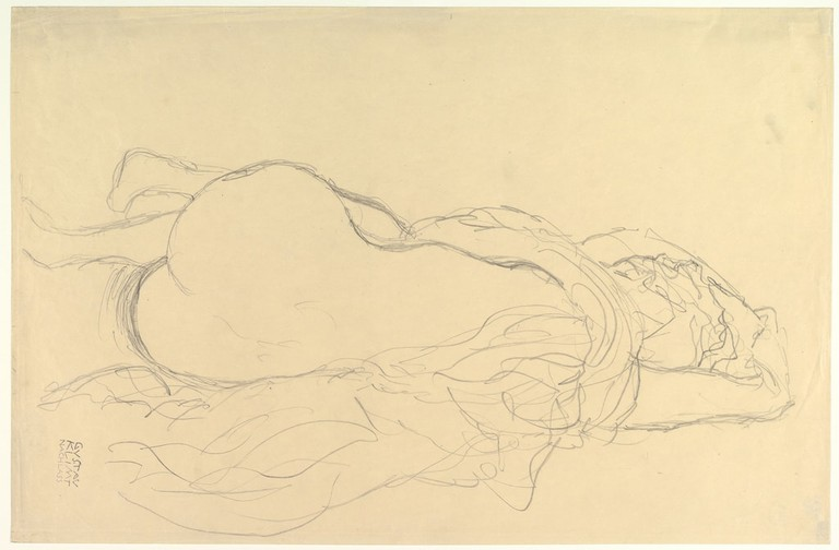 Gustav Klimt, 'Reclining Nude with Drapery, Back View' (1917–1918)