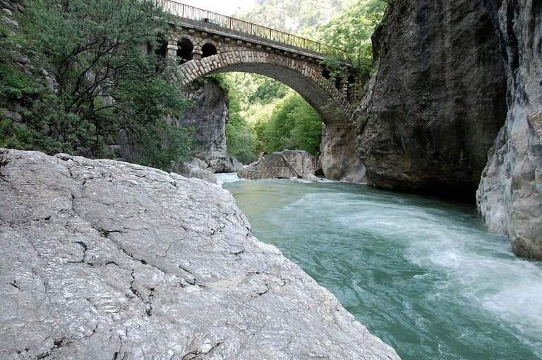 Gurit Bridge in the Rugova Valley, one of the most beautiful natural destinations to visit in Kosovo