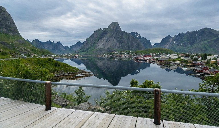 View of Reine in Lofoten from the viewpoint towards Reinehalsen