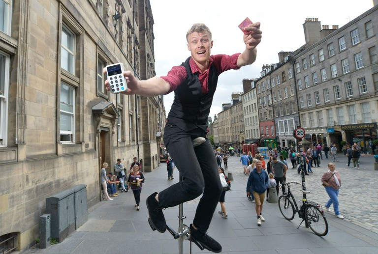 Invincible Vaughan (Vaughan Curtis) At Edinburgh Festival Fringe With The iZettle Reader