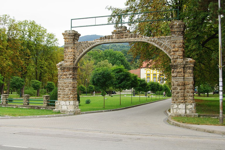 The entrance to the spa in Banja Koviljača, Serbia