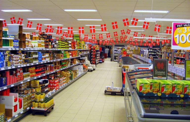 Danish supermarket-flags-cost of food-Copenhagen