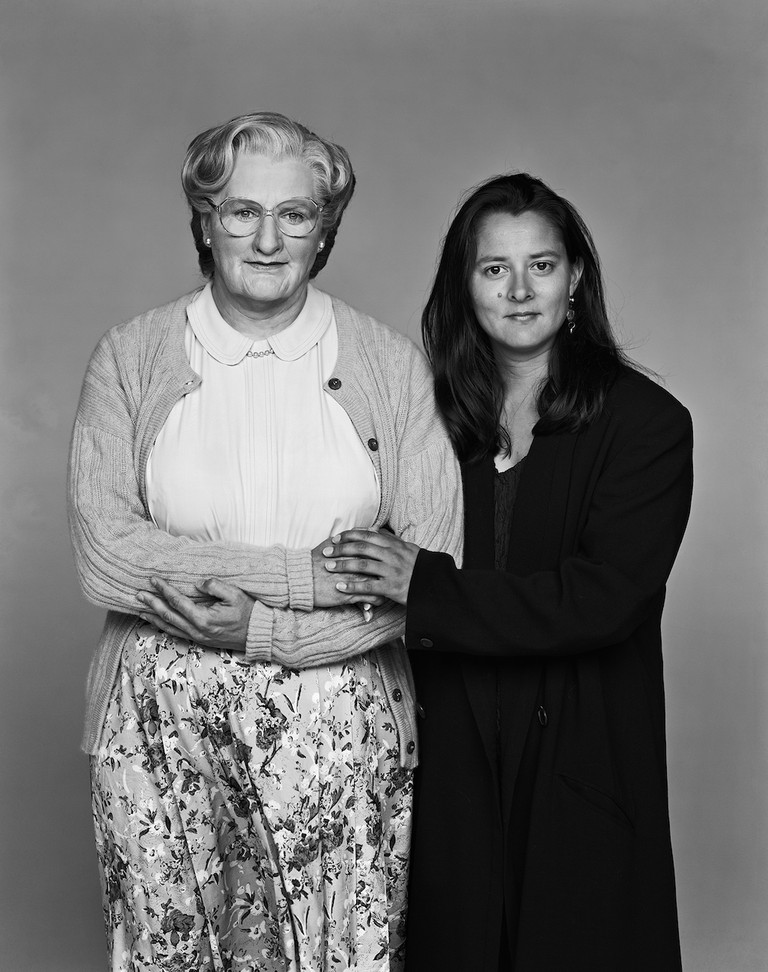 Robin Williams as Mrs. Doubtfire with his wife, Marsha, in 1993
