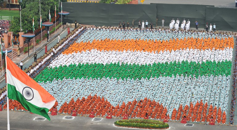 Formation of the Indian flag colours by the school children at the Red Fort