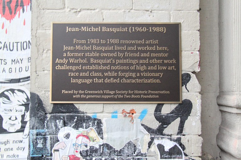 A plaque at 57 Great Jones Street commemorates Jean-Michel Basquiat