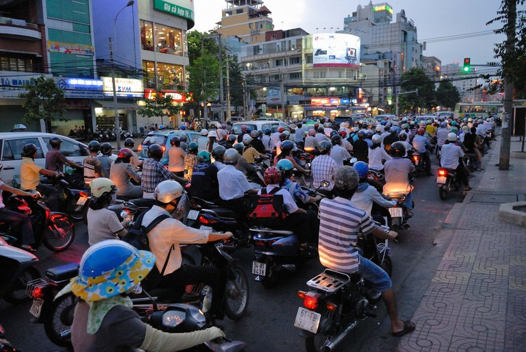 Gridlocked traffic during rush hour in Vietnam