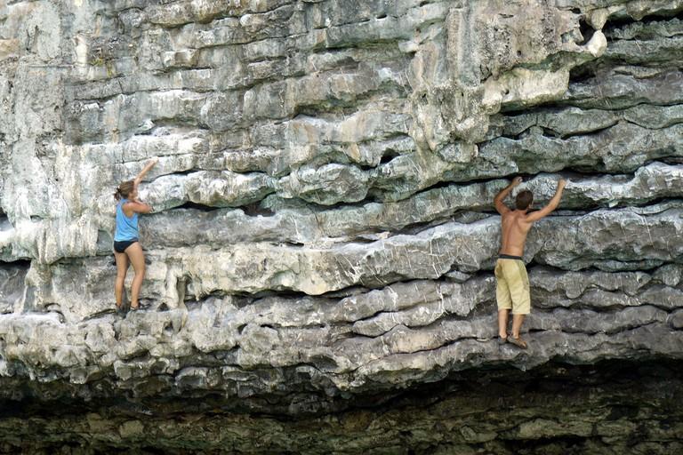 Solo rock climbing in Krabi