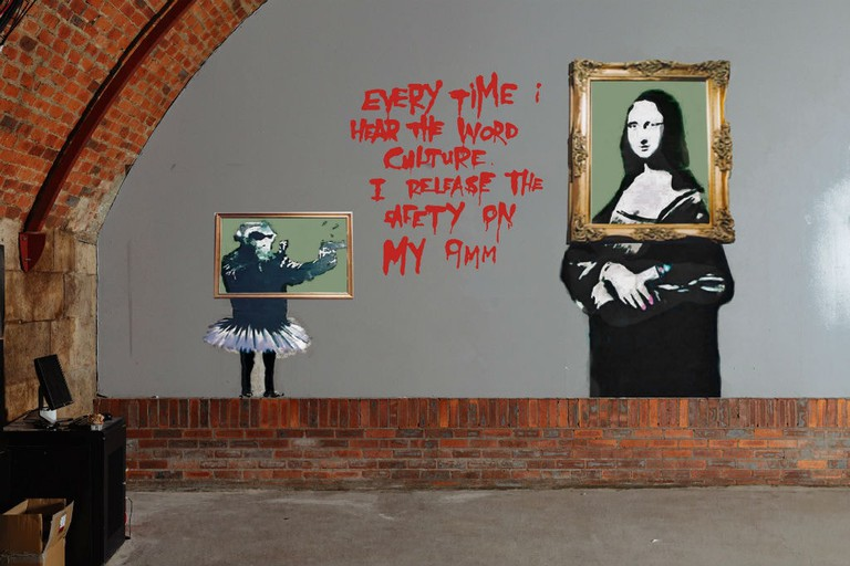 Artist's Impression Of Restored Banksy Artworks At Glasgow's Argyle St Arches, Scotland