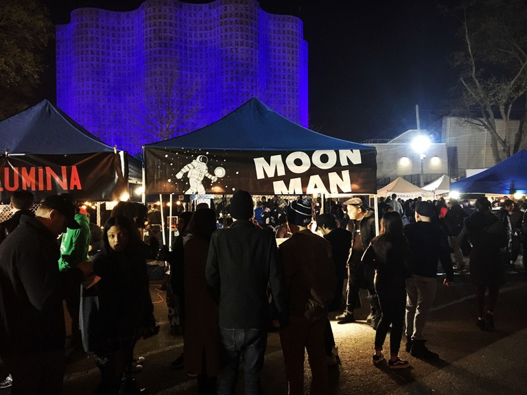 The tent is adorned with Moon Man's astronaut theme