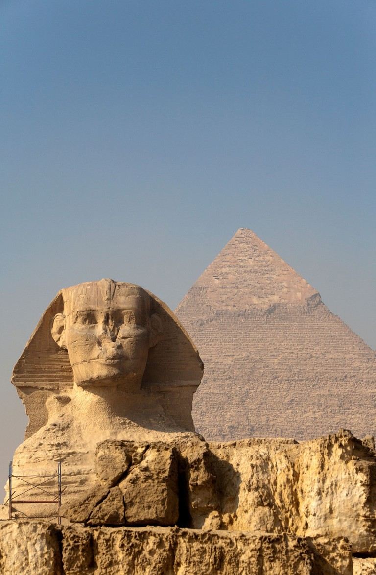 The Sphinx and the Pyramid of Khafre (Chephren) in Giza, Egypt