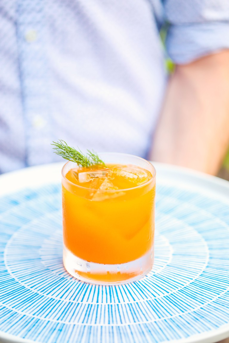 Cap Spartel, yogurt washed gin, lemon, carrot, honey, mace (Credit Spice Finch)