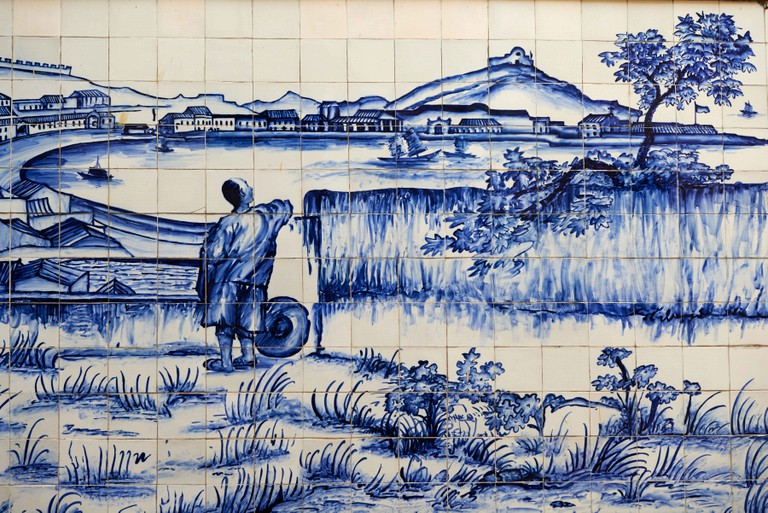 Tiles on the Traversa do Meio, Praia Grande from Bom Parto Fort, from Georges Chinnery, Macau.