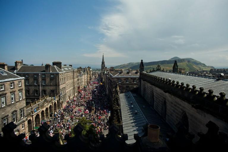 View Of Royal Mile High Street During The Edinburgh Festival Fringe