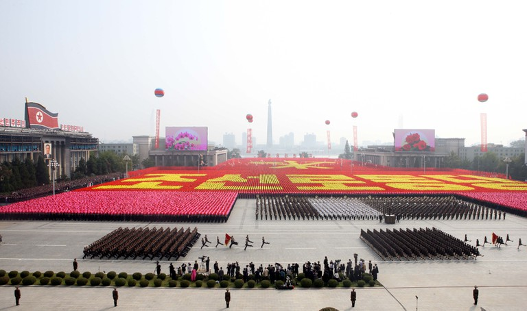 Soldiers march at a parade in Pyongyang, capital of the Democratic People's Republic of Korea