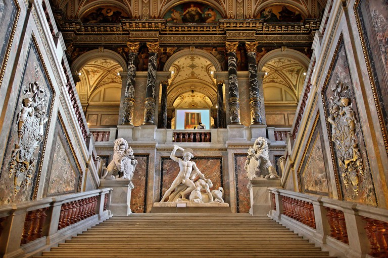 The main staircase at the Kunsthistorisches Museum, Vienna, Austria.