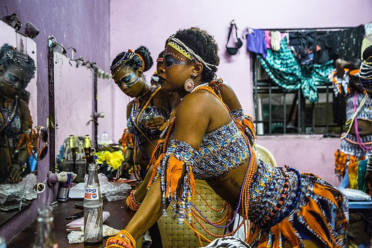 Dancers prepare for their performance at the 2014 Felabration
