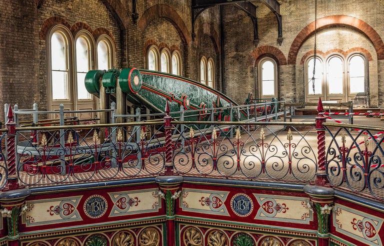 Beam steam engine and cast ironwork restored at the Crossness Pumping Station near Thamesmead, London