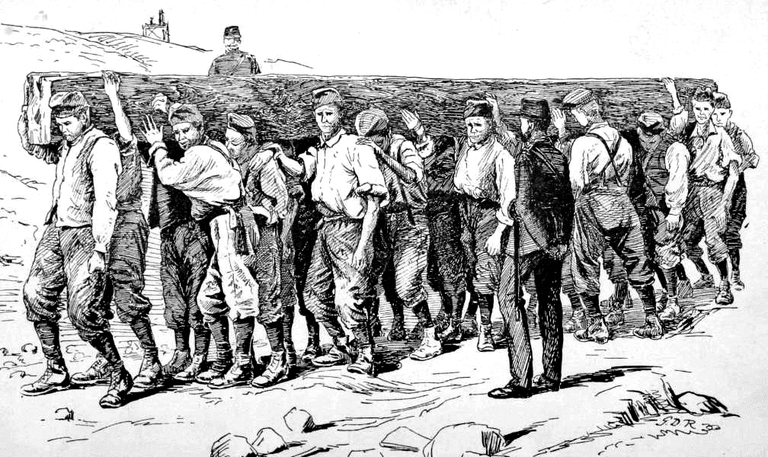 Illustration of a British convict chain gang © Notwist / Wikimedia Commons