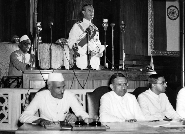 Nehru listens as the Viceroy of India, Lord Mountbatten, declares India's Independence 1947