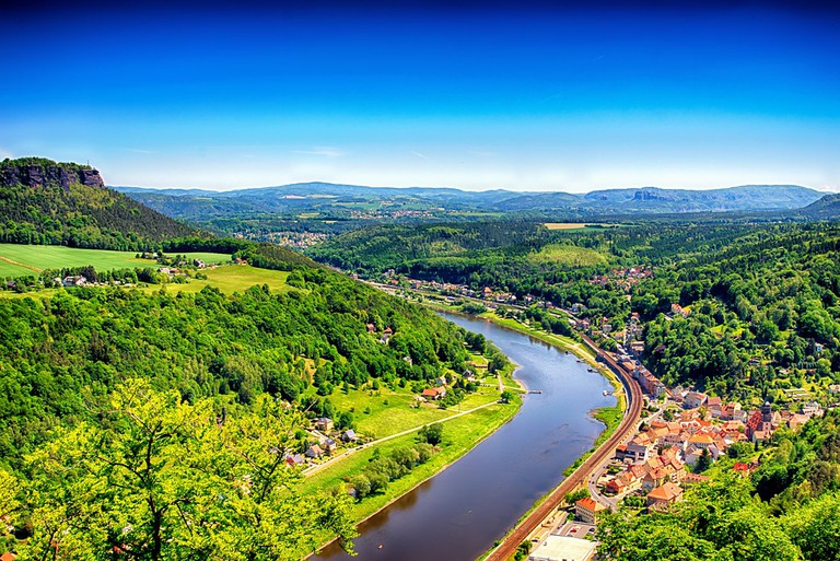 View over Elbe Valley from the Saxon Switzerland National Park