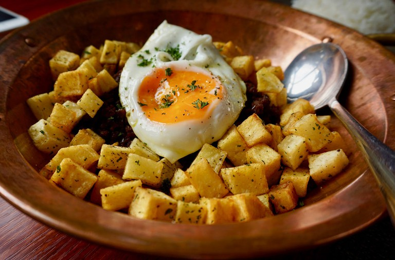 Minchi – Macau's national dish – as served at La Famiglia restaurant.