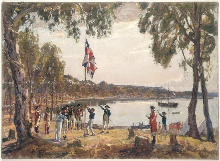 Oil sketch of the British colonising Sydney in 1788 © Algernon Talmage / Wikimedia Commons